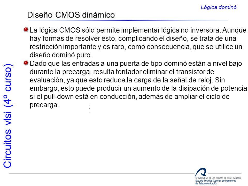 Lógica dominó Diseño CMOS dinámico. La lógica CMOS sólo permite implementar lógica no inversora. Aunque.
