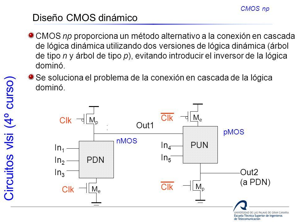 CMOS np Diseño CMOS dinámico. CMOS np proporciona un método alternativo a la conexión en cascada.
