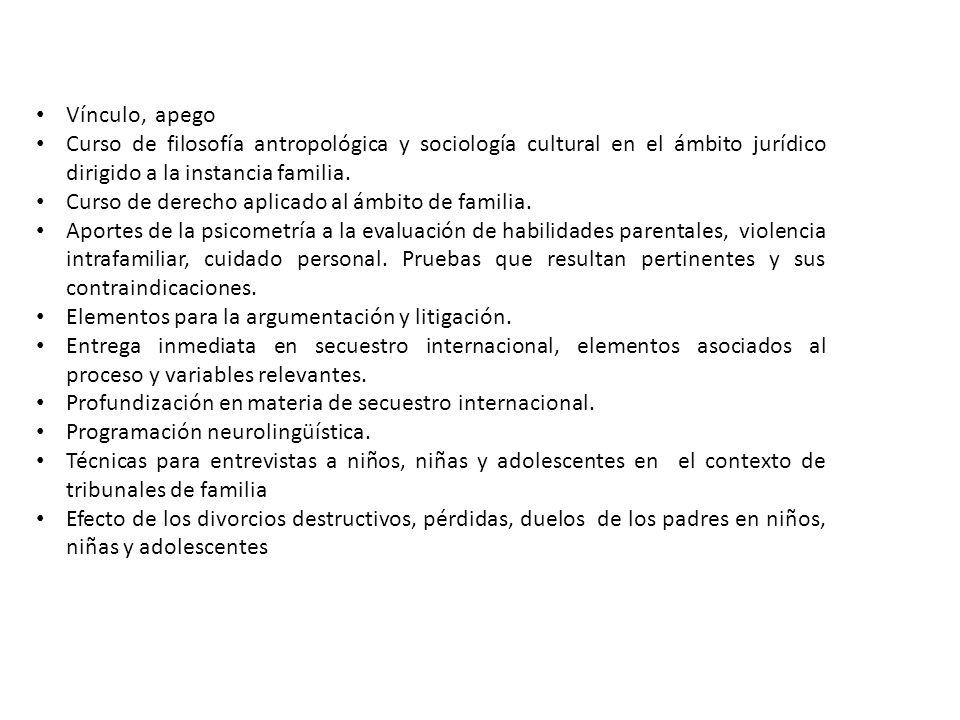Vínculo, apego Curso de filosofía antropológica y sociología cultural en el ámbito jurídico dirigido a la instancia familia.