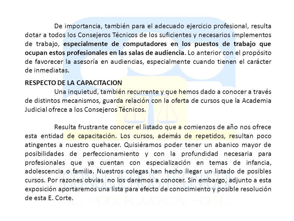 RESPECTO DE LA CAPACITACION