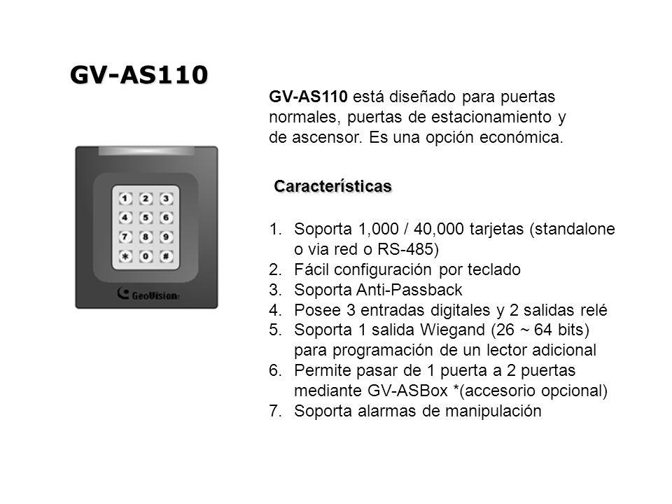 GV-AS110 GV-AS110 está diseñado para puertas normales, puertas de estacionamiento y de ascensor. Es una opción económica.