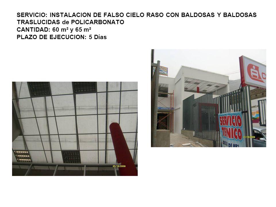 SERVICIO: INSTALACION DE FALSO CIELO RASO CON BALDOSAS Y BALDOSAS TRASLUCIDAS de POLICARBONATO CANTIDAD: 60 m² y 65 m² PLAZO DE EJECUCION: 5 Días