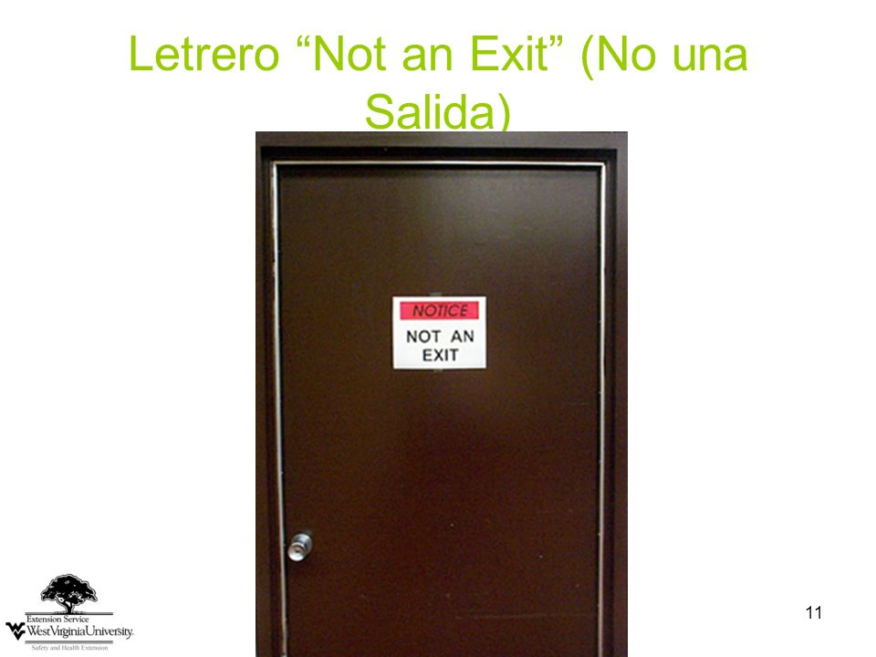 Letrero Not an Exit (No una Salida)