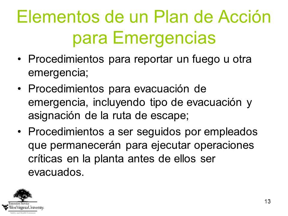 Elementos de un Plan de Acción para Emergencias