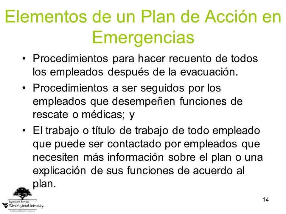 Elementos de un Plan de Acción en Emergencias