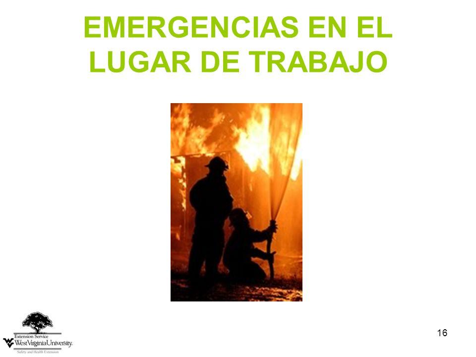 EMERGENCIAS EN EL LUGAR DE TRABAJO