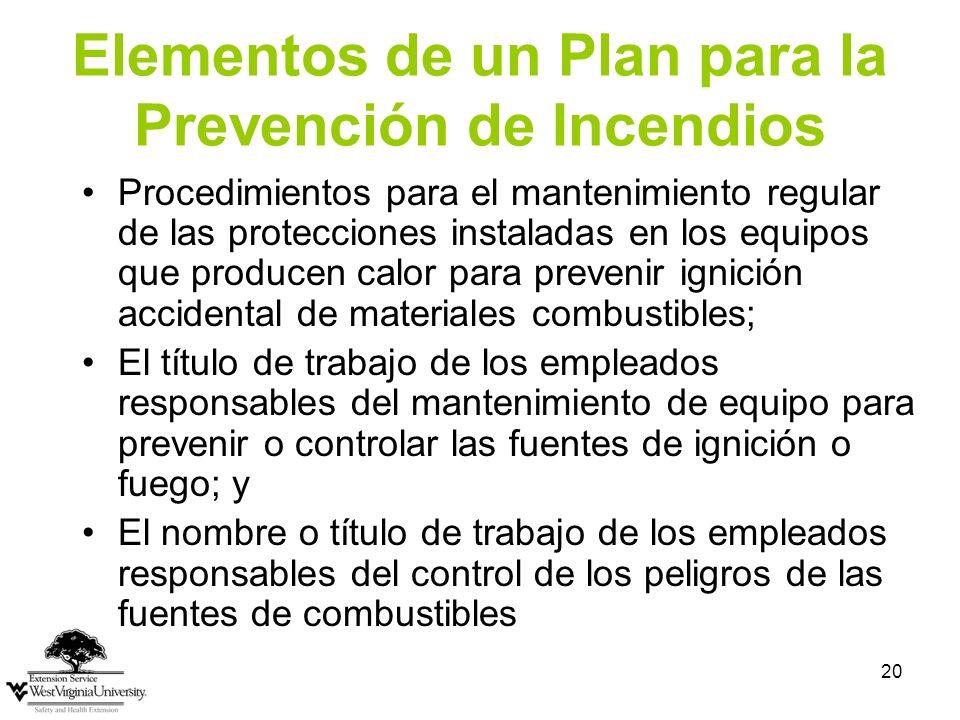 Elementos de un Plan para la Prevención de Incendios