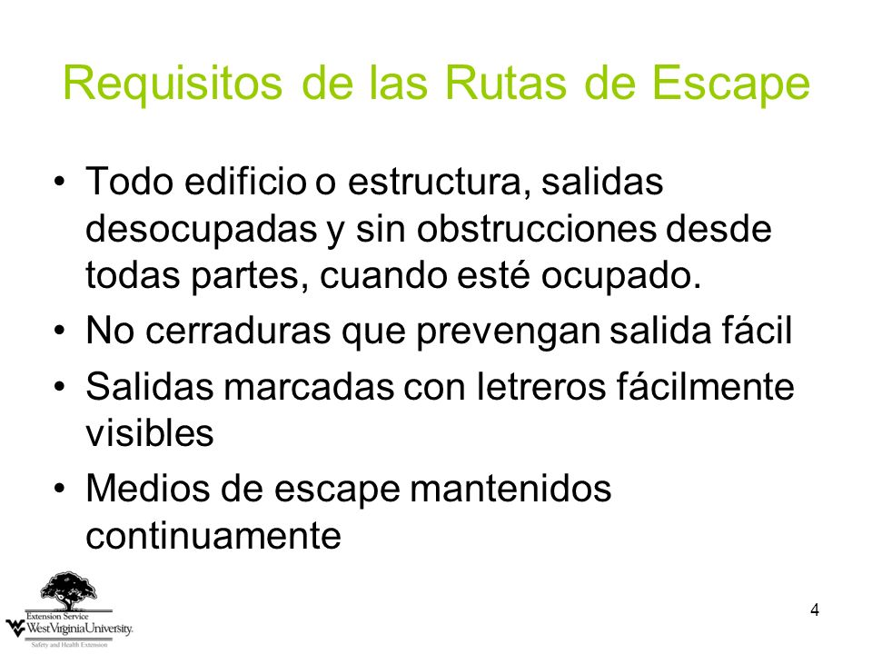 Requisitos de las Rutas de Escape