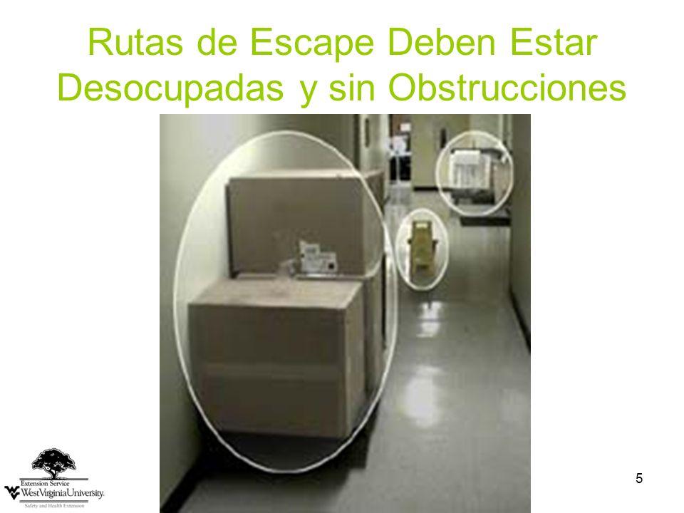 Rutas de Escape Deben Estar Desocupadas y sin Obstrucciones