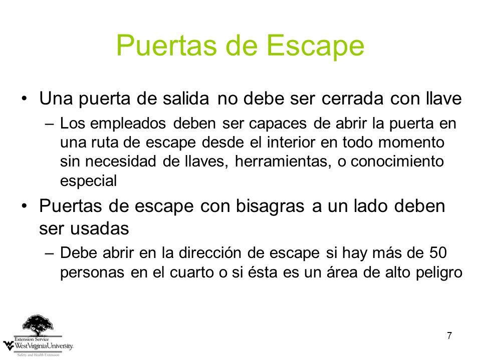 Puertas de Escape Una puerta de salida no debe ser cerrada con llave