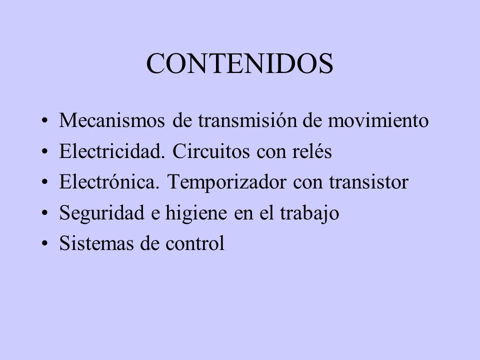 CONTENIDOS Mecanismos de transmisión de movimiento