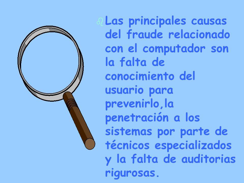 Las principales causas del fraude relacionado con el computador son la falta de conocimiento del usuario para prevenirlo,la penetración a los sistemas por parte de técnicos especializados y la falta de auditorias rigurosas.