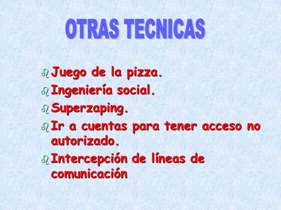 OTRAS TECNICAS Juego de la pizza. Ingeniería social. Superzaping.