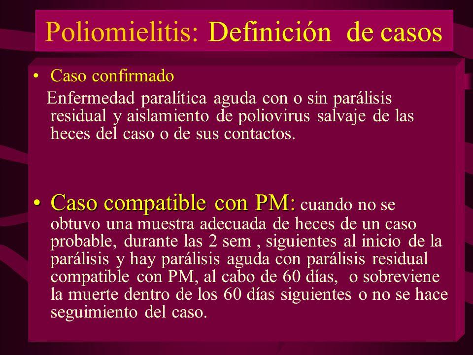 Poliomielitis: Definición de casos