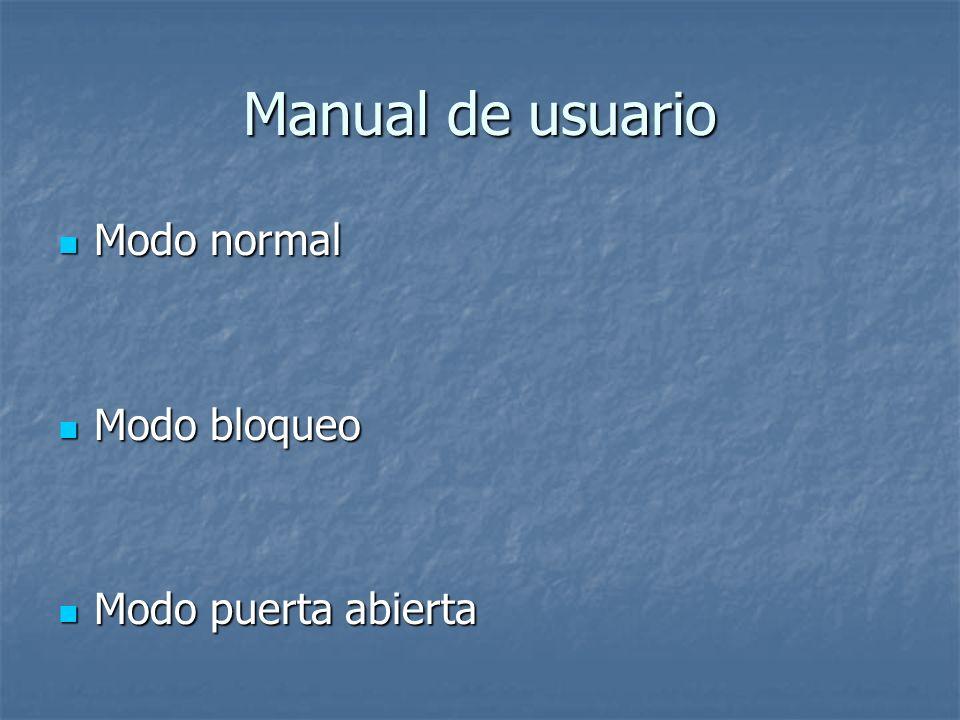 Manual de usuario Modo normal Modo bloqueo Modo puerta abierta