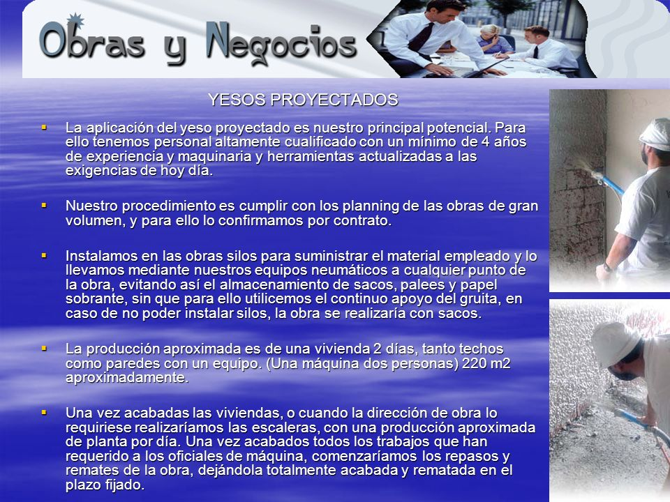 www.obrasynegocios.net YESOS PROYECTADOS