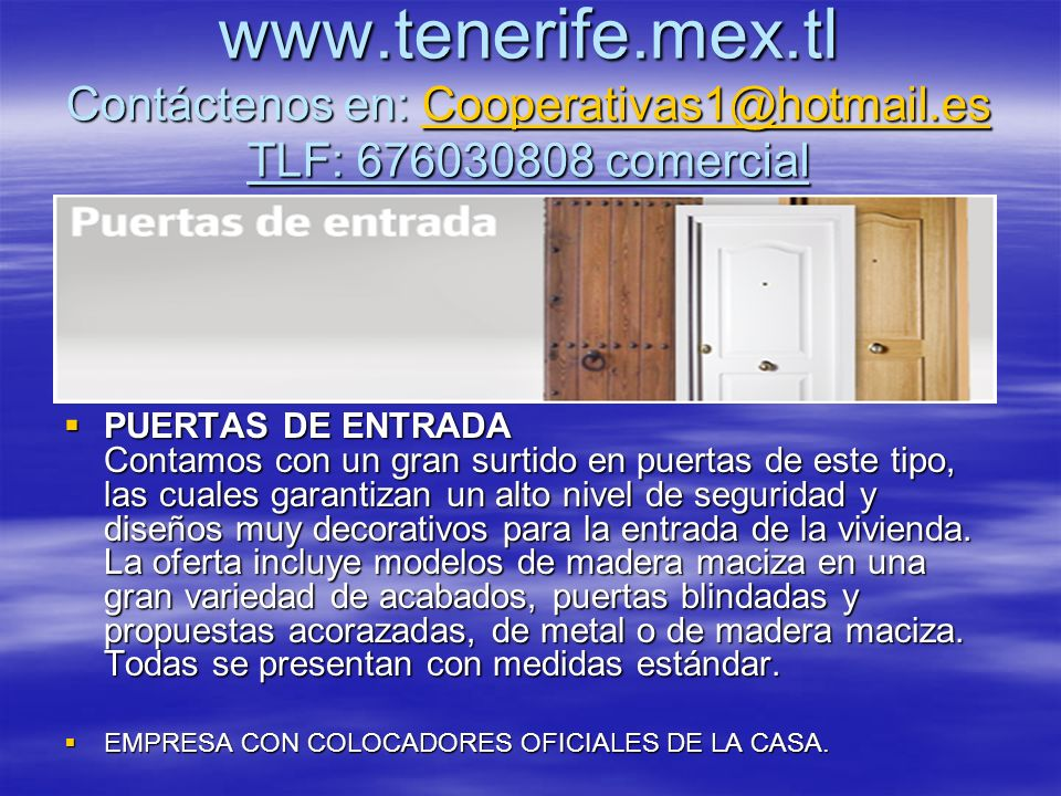 www. tenerife. mex. tl Contáctenos en: Cooperativas1@hotmail