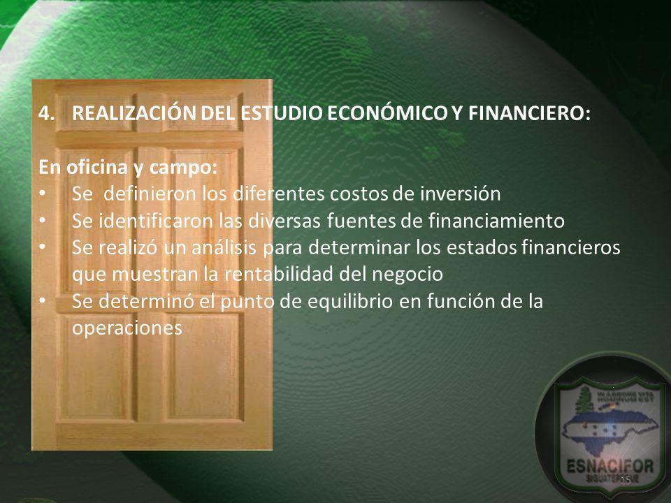 REALIZACIÓN DEL ESTUDIO ECONÓMICO Y FINANCIERO: