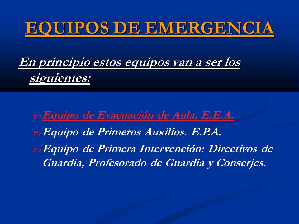 EQUIPOS DE EMERGENCIA En principio estos equipos van a ser los siguientes: Equipo de Evacuación de Aula. E.E.A.