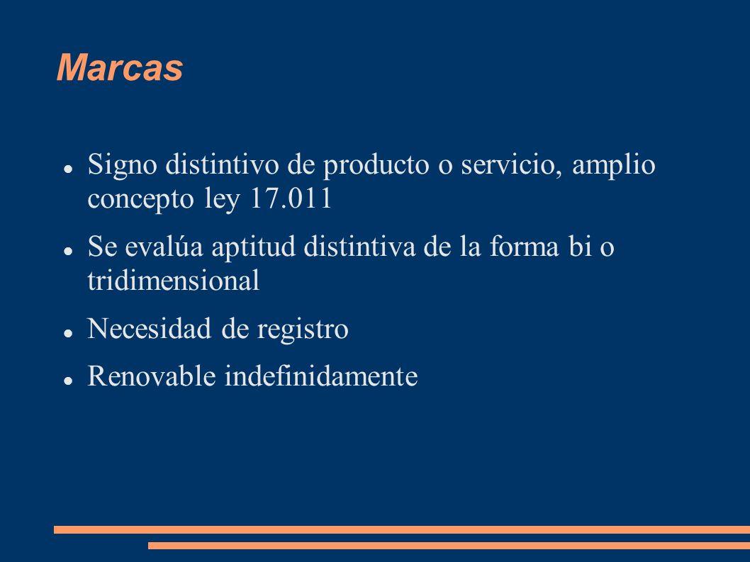 Marcas Signo distintivo de producto o servicio, amplio concepto ley 17.011. Se evalúa aptitud distintiva de la forma bi o tridimensional.