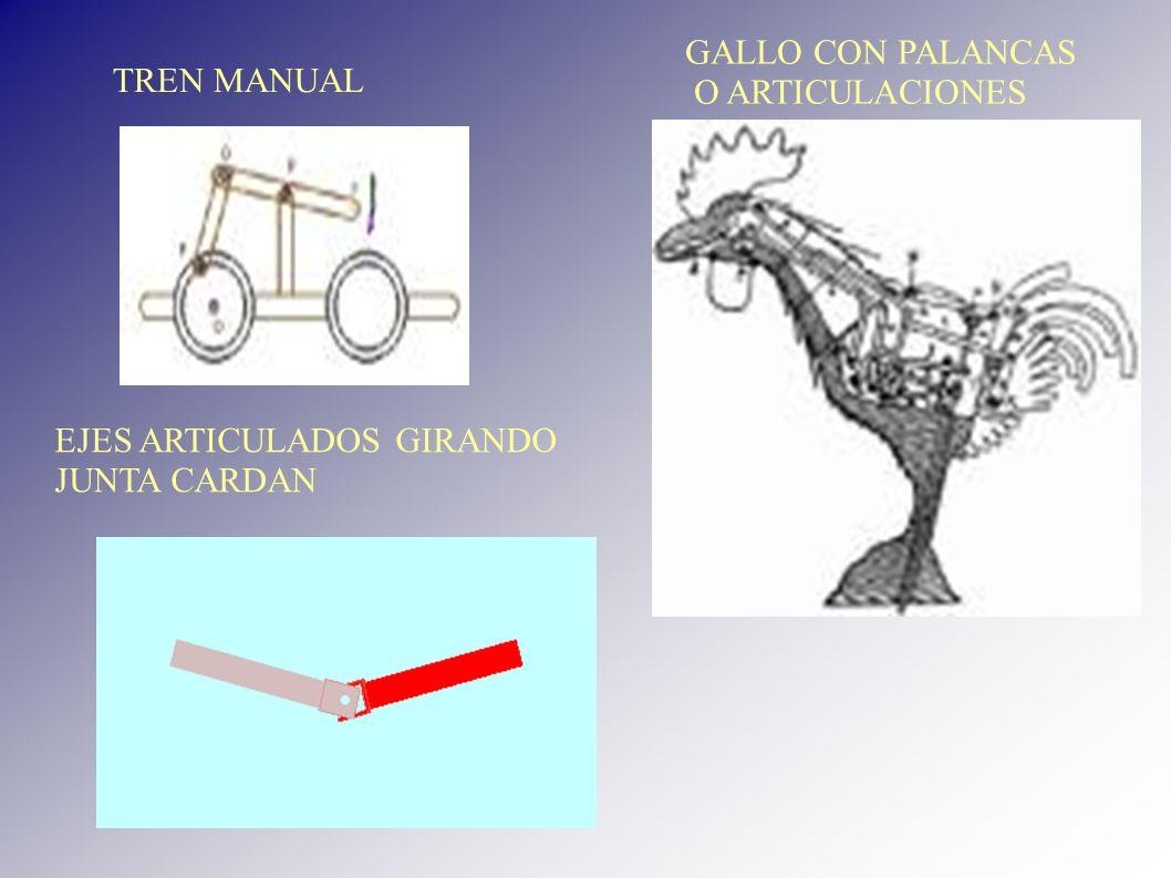 GALLO CON PALANCAS O ARTICULACIONES TREN MANUAL EJES ARTICULADOS GIRANDO JUNTA CARDAN