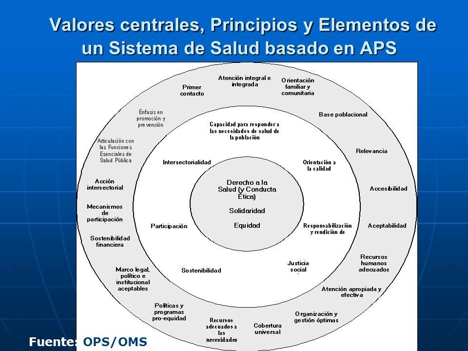 Valores centrales, Principios y Elementos de un Sistema de Salud basado en APS