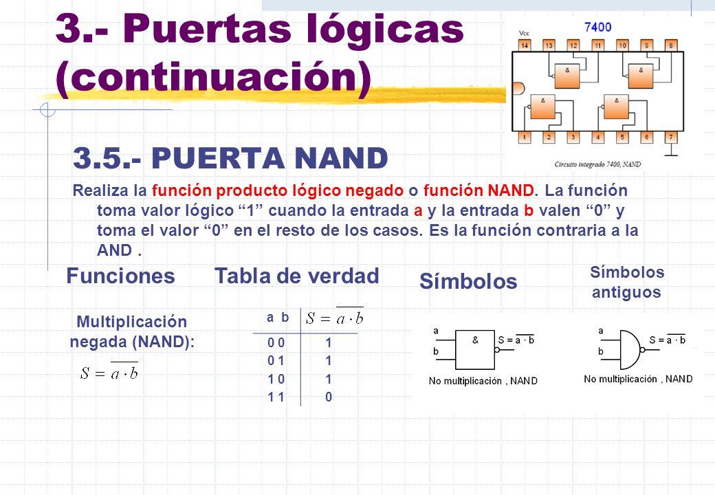 3.- Puertas lógicas (continuación)