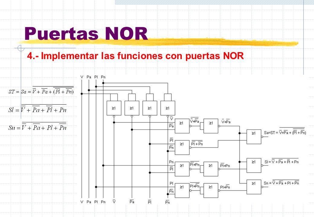 Puertas NOR 4.- Implementar las funciones con puertas NOR