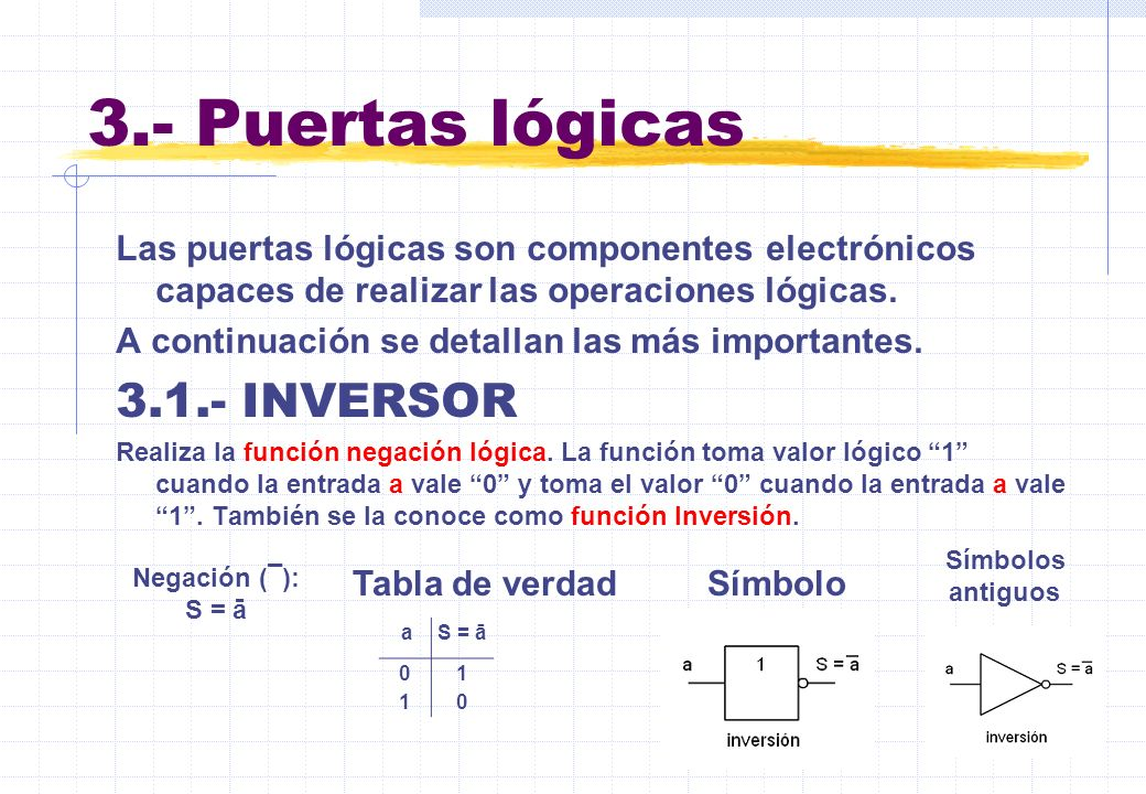 3.- Puertas lógicas 3.1.- INVERSOR