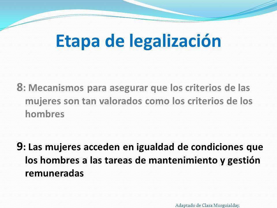 Etapa de legalización 8: Mecanismos para asegurar que los criterios de las mujeres son tan valorados como los criterios de los hombres.