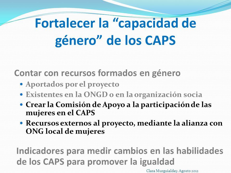 Fortalecer la capacidad de género de los CAPS