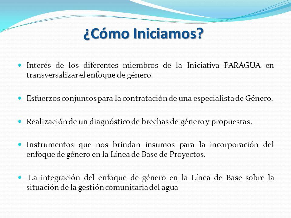 ¿Cómo Iniciamos Interés de los diferentes miembros de la Iniciativa PARAGUA en transversalizar el enfoque de género.