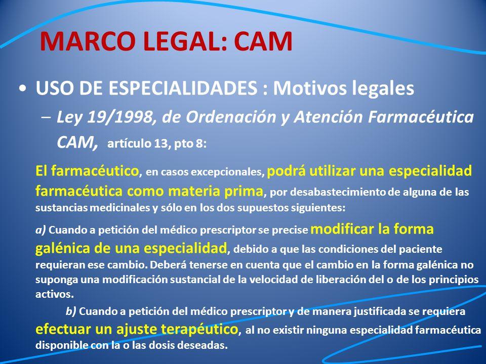 MARCO LEGAL: CAM USO DE ESPECIALIDADES : Motivos legales