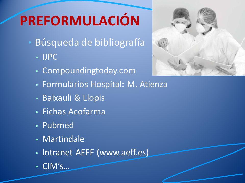 PREFORMULACIÓN Búsqueda de bibliografía IJPC Compoundingtoday.com