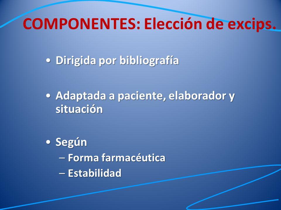 COMPONENTES: Elección de excips.