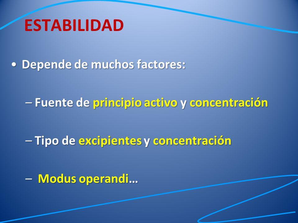 ESTABILIDAD Depende de muchos factores: