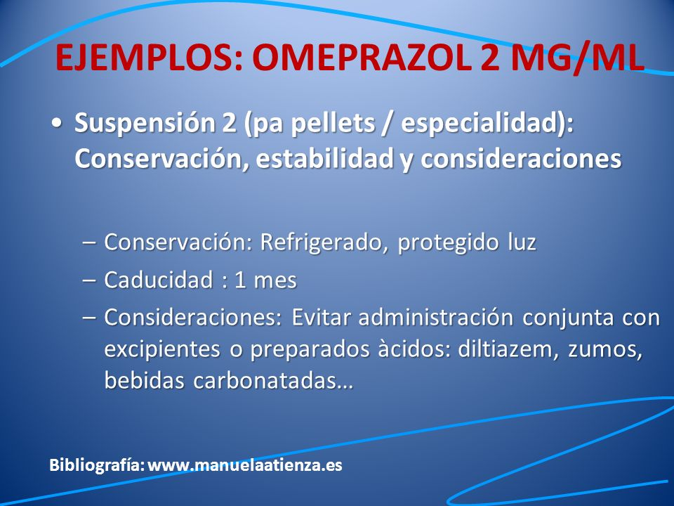 EJEMPLOS: OMEPRAZOL 2 MG/ML
