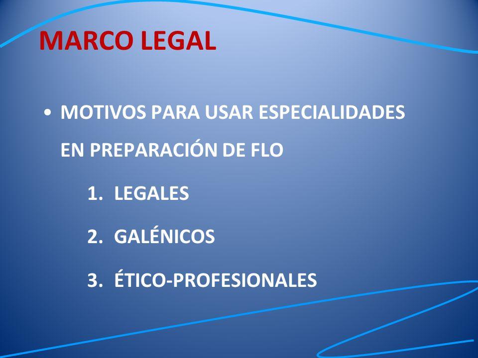 MARCO LEGAL MOTIVOS PARA USAR ESPECIALIDADES EN PREPARACIÓN DE FLO