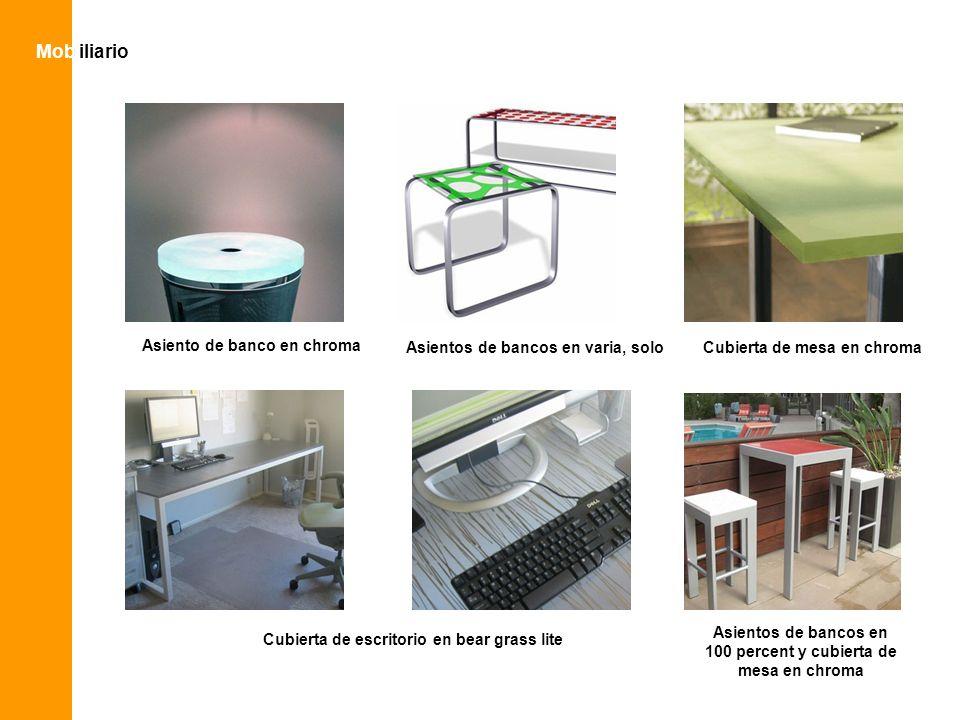 Asientos de bancos en 100 percent y cubierta de mesa en chroma