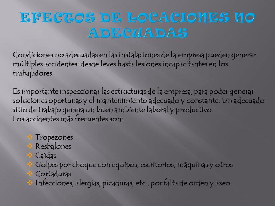 EFECTOS DE LOCACIONES NO ADECUADAS