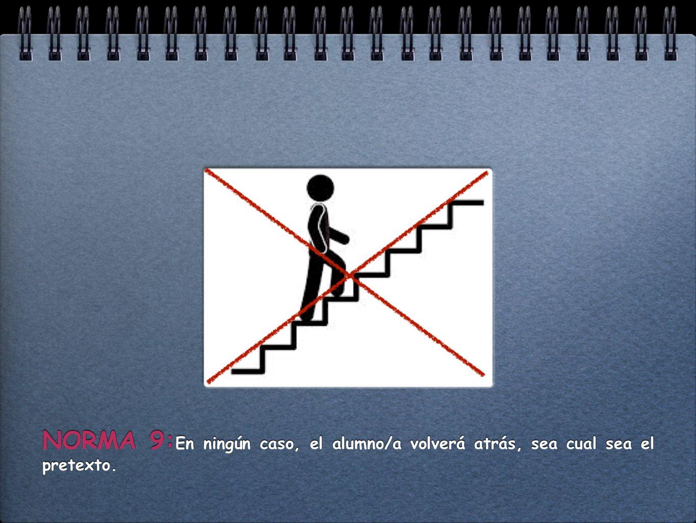 NORMA 9:En ningún caso, el alumno/a volverá atrás, sea cual sea el pretexto.