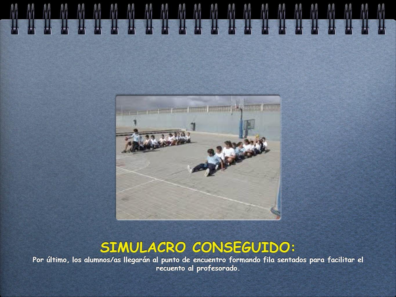 SIMULACRO CONSEGUIDO: Por último, los alumnos/as llegarán al punto de encuentro formando fila sentados para facilitar el recuento al profesorado.