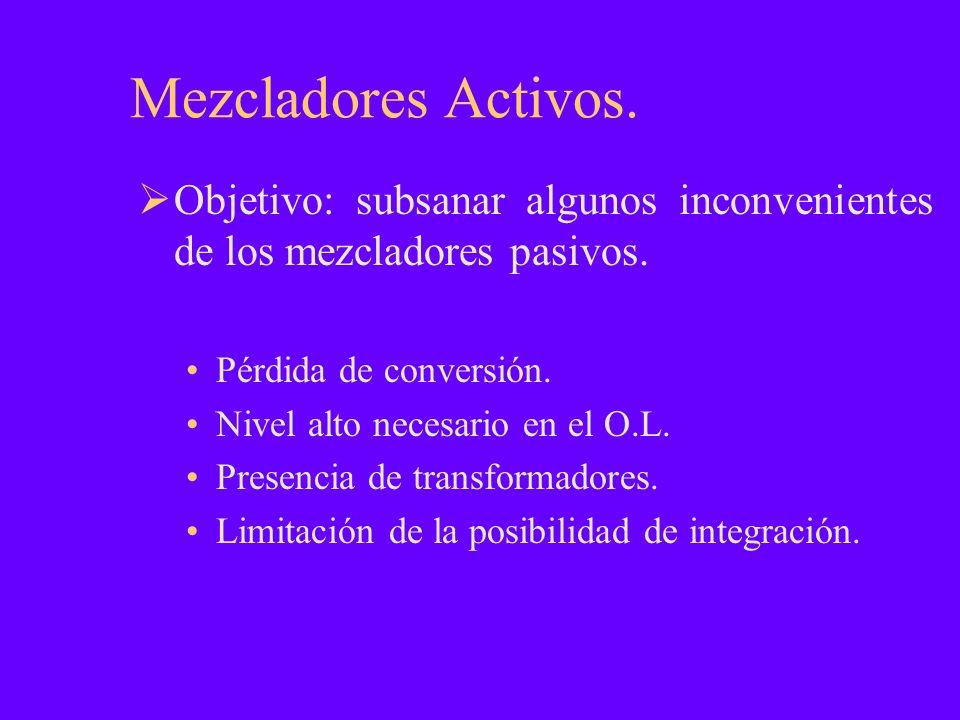 Mezcladores Activos. Objetivo: subsanar algunos inconvenientes de los mezcladores pasivos. Pérdida de conversión.