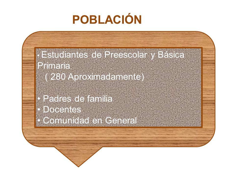 POBLACIÓN ( 280 Aproximadamente) Padres de familia Docentes