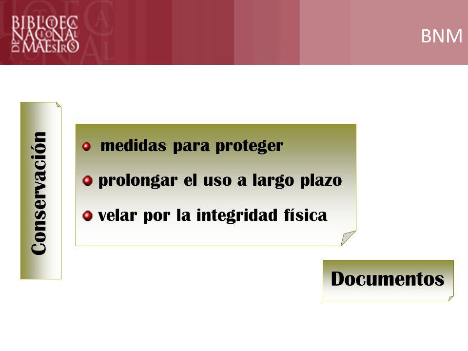 BNM Conservación Documentos prolongar el uso a largo plazo