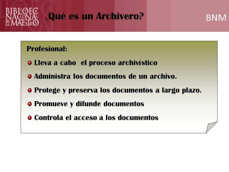 BNM Profesional: Lleva a cabo el proceso archivístico