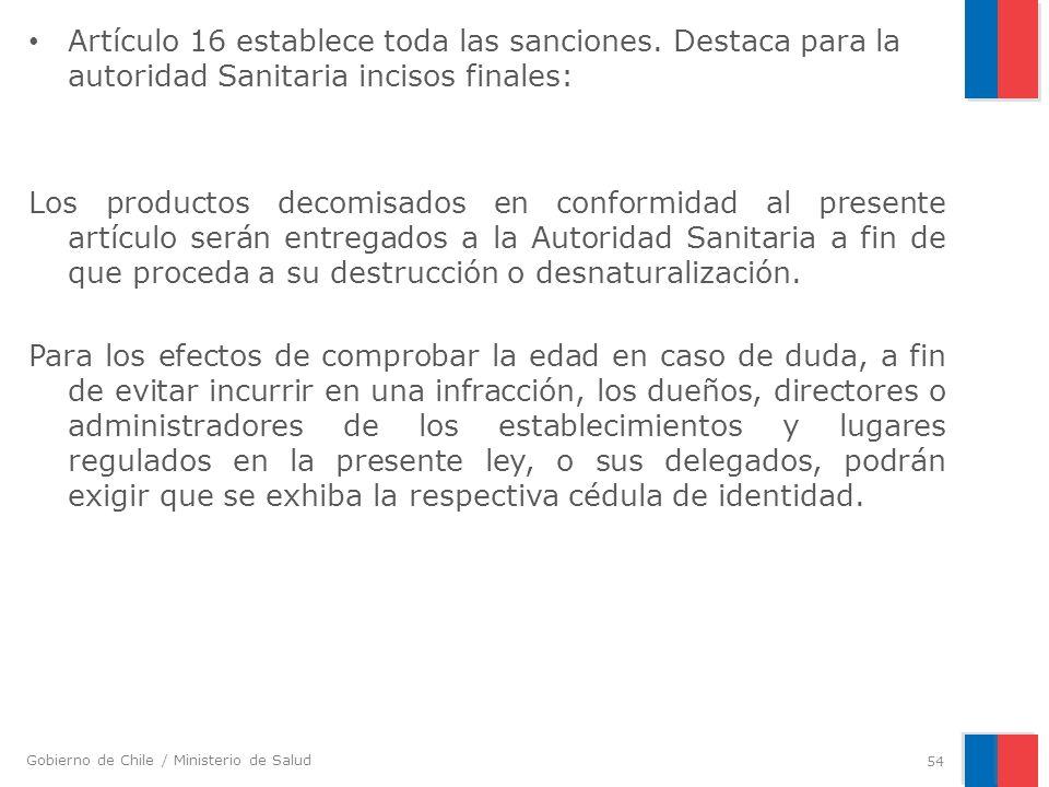 Artículo 16 establece toda las sanciones