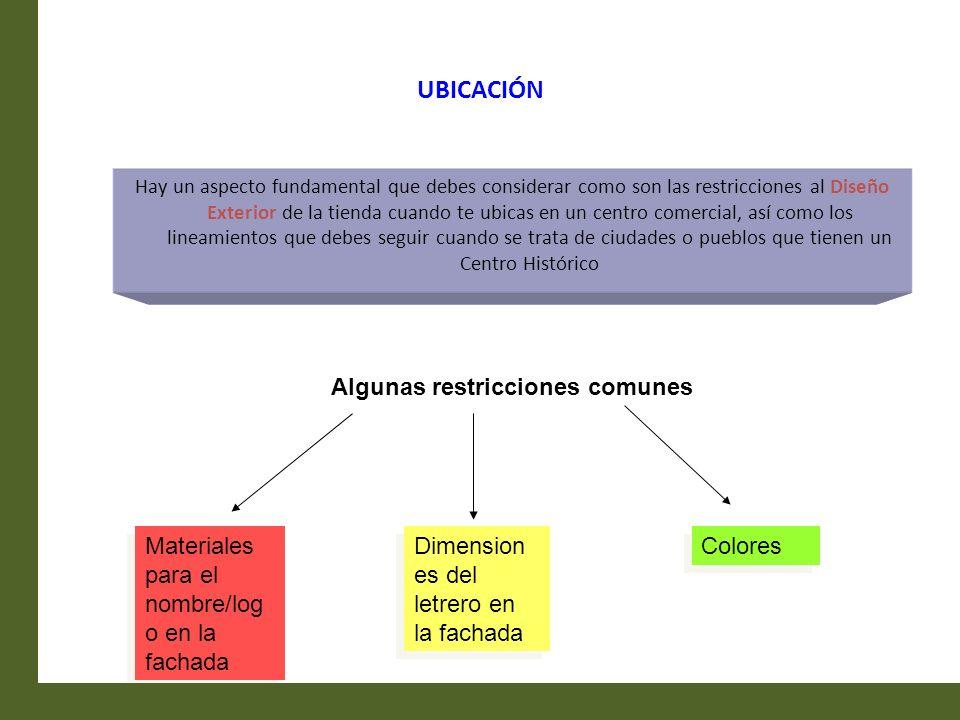 UBICACIÓN Algunas restricciones comunes