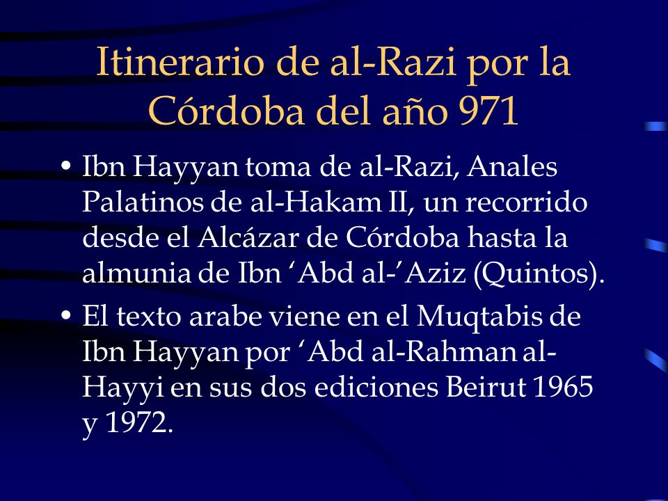 Itinerario de al-Razi por la Córdoba del año 971