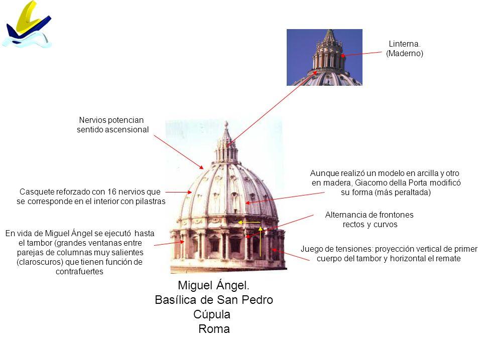 Miguel Ángel. Basílica de San Pedro Cúpula Roma Linterna. (Maderno)